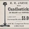 R. R. Jarvie makes candlesticks in brass and copper