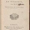 Observations sur la Virginie, title page