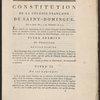 Constitution de la colonie française de Saint-Domingue. (Title page)