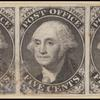 5c black Washington provisional strip of three