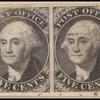 5c black Washington provisional strip of four