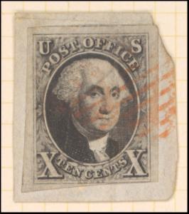 10c black Washington single on cover