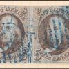 5c red brown Franklin margin pair