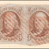 5c red brown Franklin horizontal pair