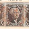 10c black Washington strip of three