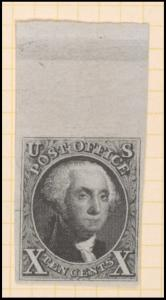 10c black Washington sheet margin single
