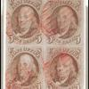 5c red brown Franklin block of four