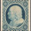 1c) blue Franklin carrier plate proof