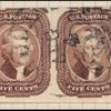 5c red brown Jefferson Type I pair
