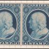 1c blue Franklin carrier reprint pair