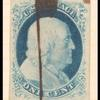 1c blue Franklin vertical strip of three