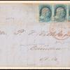 1c blue Franklin Plate 1E strip of three on cover