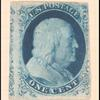 1c blue Franklin Type IIIa single