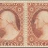 3c dull red Washington Type II horizontal pair
