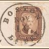5c brown Jefferson Type I single on partial cover