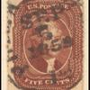 5c red brown Jefferson Type I single