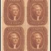5c Jefferson orange brown block of four