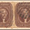5c brown Jefferson pair