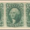 10c green Washington Type I horizontal strip of three