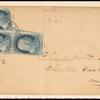 1c blue Franklin L-shaped block of three on cover