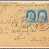 1c blue Franklin pair on cover with 3 cent 1851