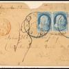 1c blue Franklin with 3 cent 1851 issue on cover