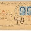 1c blue Franklin pair with 3c 1851 on cover