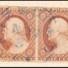 3c dull red Washington Type I pair