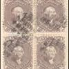 24c red lilac Washington block of four