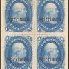 1c blue Franklin specimen block of four
