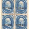 1c blue Franklin specimen block of four
