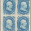 1c blue Franklin E. Grill block of four