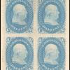 1c blue Franklin F. grill block of four