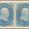 1c blue Franklin pair