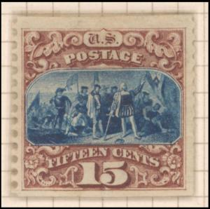 15c brown & blue Landing of Columbus re-issue single