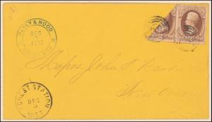 2c red brown Jackson single and bisect on cover