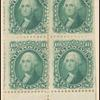 10c yellow green Washington block of four