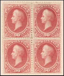 90c rose carmine Perry block of four