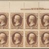 2c brown Jackson plate number and imprint block of twelve