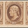10c brown Jefferson strip of three