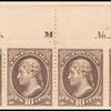 10c brown Jefferson imprint strip