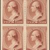 2c red brown Washington block of four