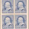 1c dull blue Franklin block of four