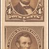 4c dark brown Lincoln imperforate pair