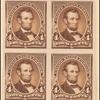 4c dark brown Lincoln imperforate block of four