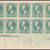 3c green Washington imprint and plate number block of fourteen