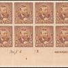5c chocolate Grant imprint plate block of twelve