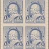 1c dull blue Franklin proof block of four