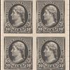 30c black Jefferson proof block of four