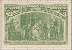 $3 yellow green Columbus Describing His Third Voyage Specimen single
